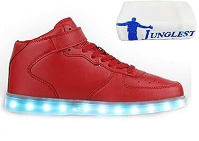 (Present:kleines Handtuch)Rot EU 38, Mode USB 7 Farbe Wechseln Damen LED-Licht Herren und Outdoorschuhe Sneaker Freizeitschuhe mode Laufschuhe JUNGLEST® aufladen Leuchten