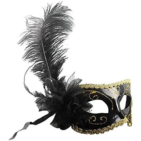Máscara de Ojo Pluma Flor Veneciana Decoración Bola de Mascarada Partido Fiesta Vestido de Lujo - Negro