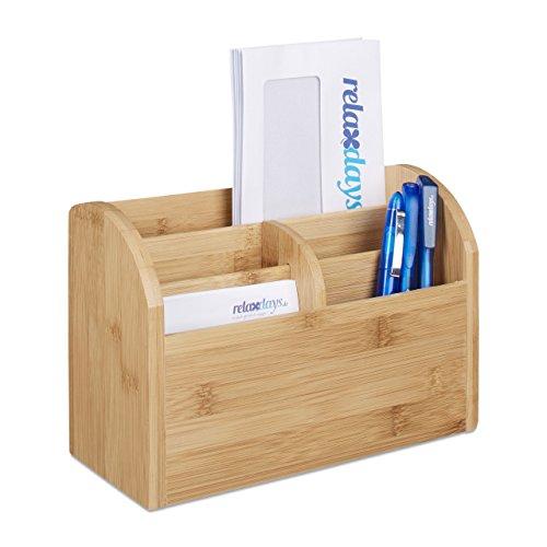 Holz Box Schreibtisch (Relaxdays Schreibtisch-Organizer Bambus, Stifteablage, Briefablage, 5 Fächer, Maserung, HBT 15 x 23 x 10 cm, natur)