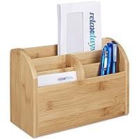 Relaxdays Schreibtisch-Organizer Bambus, Stifteablage, Briefablage, 5 Fächer, Maserung, HBT 15 x 23 x 10 cm, natur