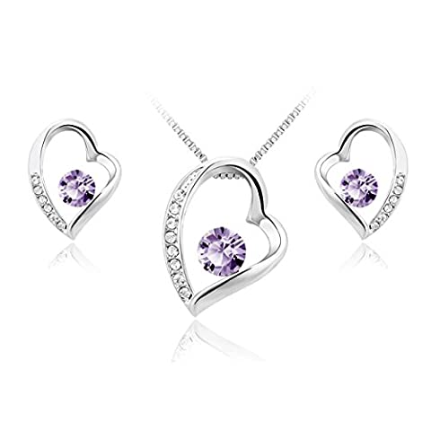 JiangXin Confession Heart Violet Swarovski Crystal Jewellery Set White Gold Plated Pendant Necklace Earring Stud for Women Girls