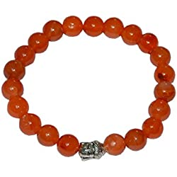 "Aatm Reiki Energiezed Gift Natural Gemstone7-8mm Round Beads Buddha Beaded Carnelian Crystal Gemstone Chakra Stretch Bracelet Unisex for Healing ""Stone of Self Motivation"""