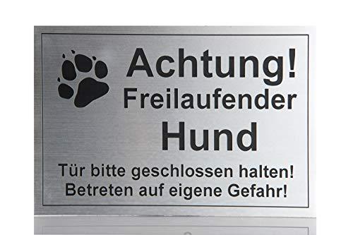 GravoLa Warnschild Achtung freilaufender Hund, Tor geschlossen Schild Hundeschild