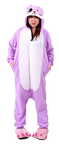 Pyjama Alien Kostüm - URVIP Jumpsuit Tier Cartoon Fasching Halloween Kostüm Sleepsuit Cosplay Fleece-Overall Pyjama Erwachsene Unisex Schlafanzug Tier Onesie mit Kapuze Violett Hase Small
