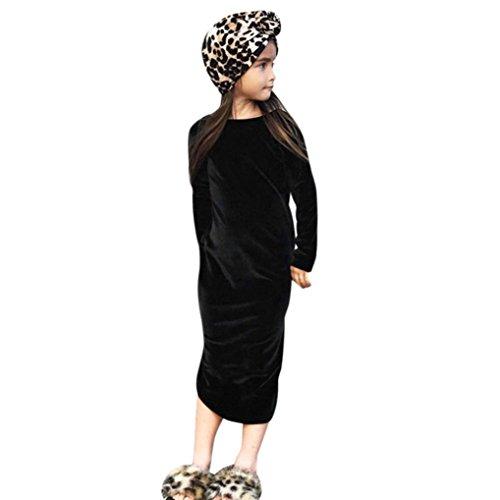 1-5 Jahr Kleinkind Kinder Prinzessin Kleid, DoraMe Baby Mädchen Langärmliges Party Kleid Goldfarbenem Samt Solide O-Ausschnitt Lässig Split Kleid (Schwarz, 5 Jahr) (Samt-bhs)