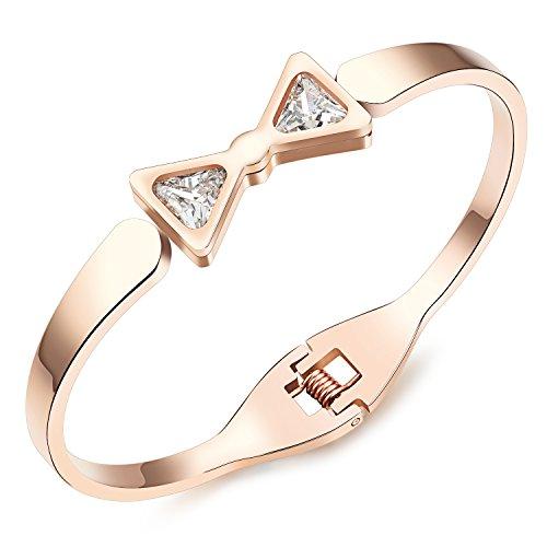 """M. JVisun Bling Cristallo Bowknot Ciondolo In Acciaio Inox Nuovo stile donne braccialetti Bangle, oro rosa, 6.29"""""""