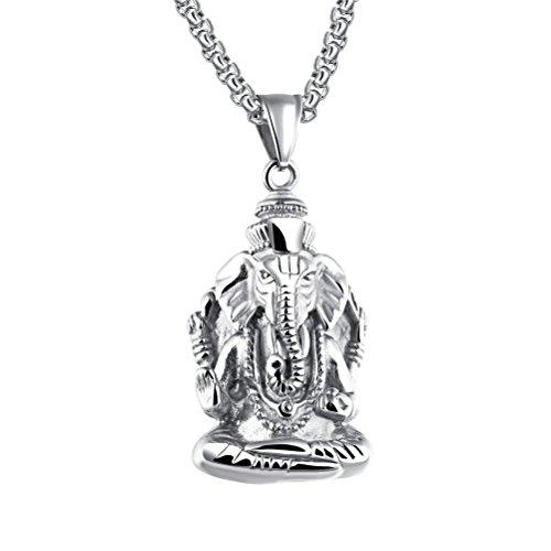 Pauro Hombres del Acero Inoxidable Ganesha Elefante Dios de éxito suerte colgante collar vintage