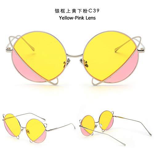 YOGER Sonnenbrillen Mode Doppel Farbe Tönung Ozean Objektiv Runde Sonnenbrille Frauen Zukunft Sonnenbrille