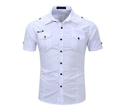 Elonglin Homme Elegant Chemise Habillée Décontractée Unie Manches Courtes Chemisette 100% Coton Couleur Divers Blanc FR L (Asie XL)