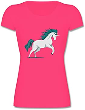 Tiermotive Kind - steigendes Einhorn - Kinder Mädchen T Shirt leicht tailliert