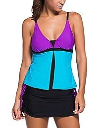 Aleumdr Mujer Tankini Colorblock Trajes de Baño Básico Bañador Escote en V Color Multicolor ...