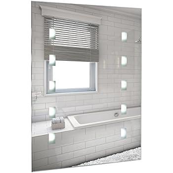 Modern IP44 Rated LED Battery Operated Illuminating Rectangular Design Bathroom Mirror