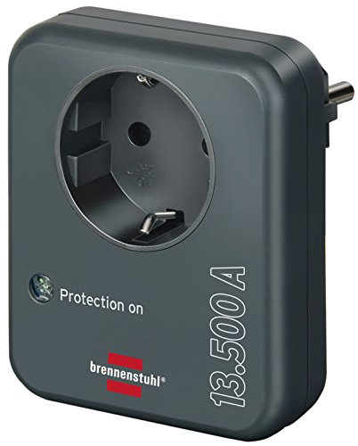 Brennenstuhl Steckdosenadapter (mit Überspannungsschutz 13.500 A, Adapter als Blitzschutz für Elektrogeräte) anthrazit (überspannungsschutz Steckdose)