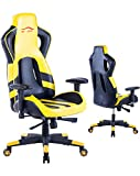 Top Gamer Silla de juego de alto respaldo, silla ergonómica de carreras Silla de oficina de cuero superior giratoria (amarillo )