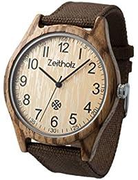 Tiempo Reloj de madera madera vieja Montaña Madera de zebrano con esfera marrón/Producto natural/antialérgico/SOSTENIBLE/hecha a mano/marrón Canvas de pulsera