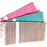 "Looms & Weaves - 3 Cotton Bath Towels - Standard Towel ( 58"" * 29 "")"