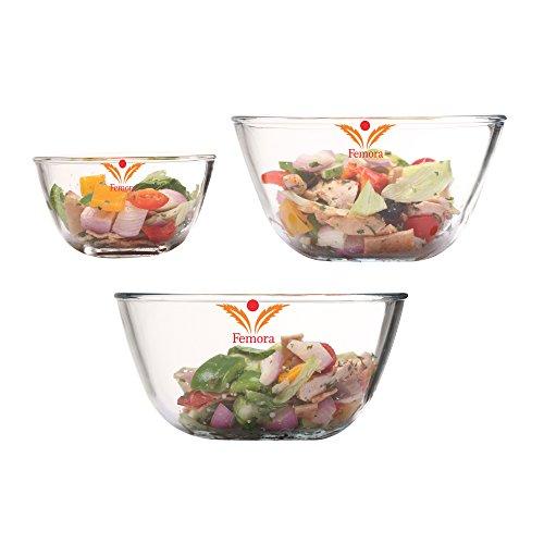 Femora Borosilicate Mixing Bowl Microwave Safe-400ml,1050ml, 1650ml(Set of 3)