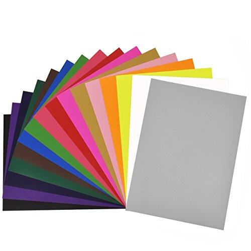 (Newcomdigi Textilfolien Transferpapier Transferfolie Vinylfolien für farbige Textilien A4 210 x 297 mm 16 Blatt zufällige Farben)