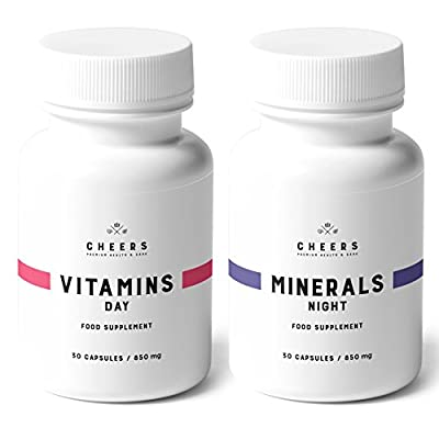 Vitamins & Minerals Supplement - 100% Vegan - Multivitamin with Herbs and Minerals to Boost Energy, Get Fit, Have A Sound Sleep - No Fillers Or Chemicals - 30 Easy-to-Swallow Caps/Bottle (850 mg) by Cheers