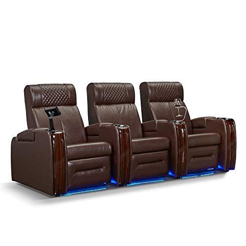 Zinea Kinosessel Western - 3 Sitzer - Echtleder, elektrisch verstellbar, LED Becherhalter, Ambientebeleuchtung, Kinosofa, Kinositz - Sofort Lieferbar