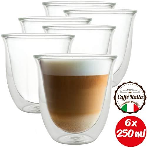 Caffé Italia Napoli - 6 verres thermo à double paroi de 250 ml - Pour thé latte macchiato, boissons chaudes et froides - lavable au lave-vaisselle.