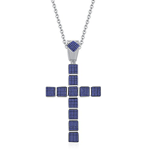 silvernshine Jewels 1,25ct rund Tansanit Kreuz Anhänger 45,7cm Kette Halskette in 14K Weiß Gold FN (Kreuz Halskette Tansanit)