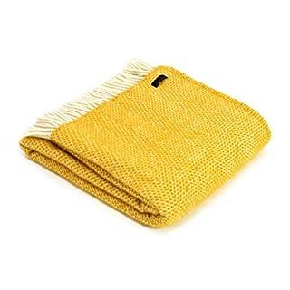Tweedmill Textiles 100% Pure Wool Blanket Beehive Throw Design in Mustard Yellow Made in UK