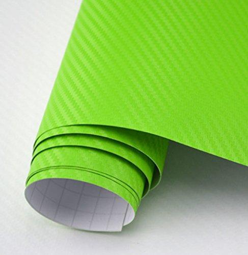 Tufkote - 3D bon Fiber Twill-Weave Matte Design Decal Vinyl Film 24 x 12 Inches (Lemon Green)