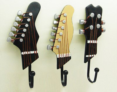 vejaoo Pack 3Wand montiert Kleiderbügel Badezimmer Handtuch Rack-Form Gitarre Vintage Harz Haken