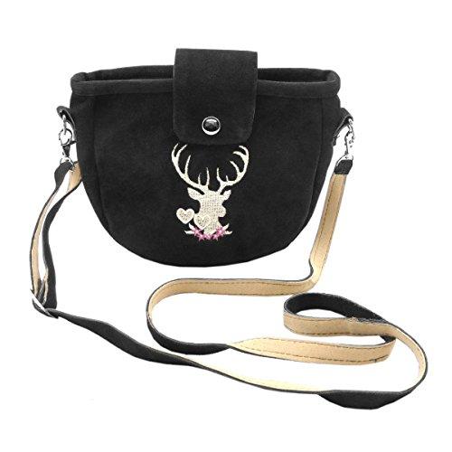 Kleine Trachtentasche Dirndltasche Umhängetasche mit Trachten-Stickerei Wild-Leder Schwarz