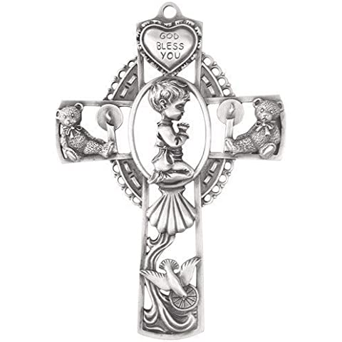 Genuine Pewter Wall Cross for Baby Boy