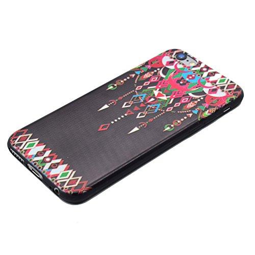 Apple iPhone 6S / 6 (4,7 Pouces) Coque, Cozy Hut ® [Liquid Crystal] Case Coque Housse Etui Ultra Hybrid TPU Silicone,[Extrêmement Mince Souple et Flexible] [Pure Black ] [Shock-Absorption Bumper et An pendentif
