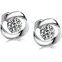 Moda Donna Elegante cristallo orecchini in argento Sterling