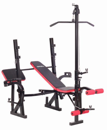 SportPlus Weight Bench with long barbell holder, curlpult and butterflycurl, incl. Lat-Tower,...