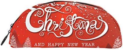 Bonipe Rouge Joyeux Noël Nouvel An Forêt Arbre Trousse Stylo Sac étui support Porte-monnaie Maquillage pour Trave Bureau | Authentique