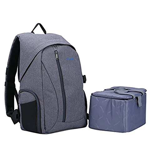 Waterproof Linen DSLR SLR Camera Backpack Bag with Removable Lower Insert Divider for Travel Outdoor Photography (Heather)