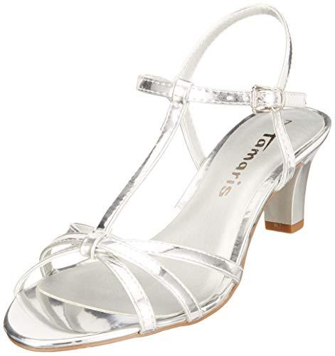 Tamaris 1-1-28329-22, Sandali con Cinturino alla Caviglia Donna, Argento (Silver 941), 41 EU
