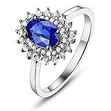 Daesar Ringe 18K Weißgold Damen Solitärring Blume 0.6 Ct Saphir Diamant Verlobungsring Weißgold Ehering Gr.52 (16.6)