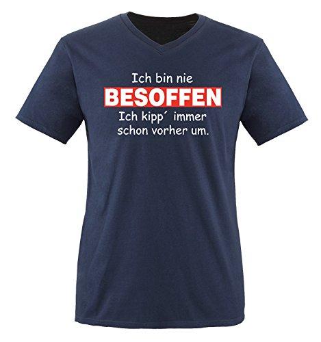 Comedy Shirts - Ich bin nie BESOFFEN - Herren V-Neck T-Shirt - Navy / Weiss-Rot Gr. XXL (Bin T-shirt Besoffen Ich)