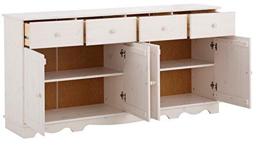 Sideboard, Holztür, Kiefer massiv, gebeizt geölt, havanna, weiß, Holzgriff, 4 Schubladen, T153 x B35 (weiß) - 3
