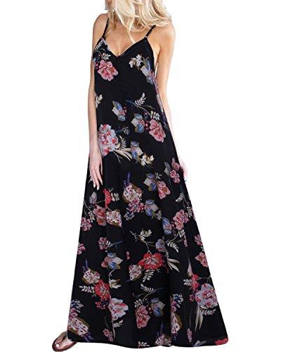 Kidsform Damen Sommerkleider Blumen Maxi Kleid Ärmellos Abendkleid Strandkleid Party Chiffon Lange Kleid Schwarz EU 40-42/Etikettgröße L