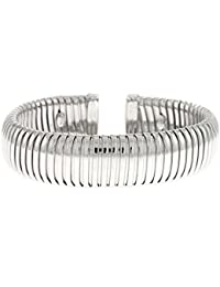Sterling Silver Bangle 15mm White Cuff Bracelet Dome High Polish