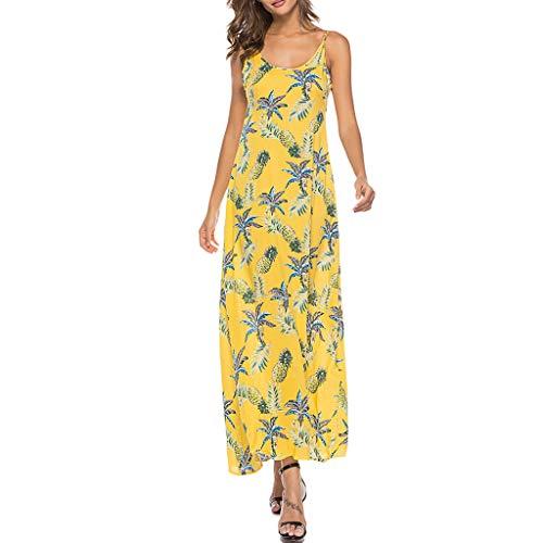 Damen Sommerkleid Lang Kleid Blumenmuster Rundhals Drucken Ärmellos Strandkleid Sexy High Waist Cocktailkleid Abendkleid Partykleid Blumenkleid ()