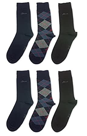 6 Paar s.OLIVER Herren Socken Strümpfe, 3 Farbvarianten: schwarz (4x uni schwarz+2x Raute schwarz), navy blau (2x uni navy, 2x uni schwarz, 2x Raute navy) oder anthracite grau (2x uni grau, 2x uni schwarz, 2x Raute grau), Größe:43-46;Farbe:navy+schwarz