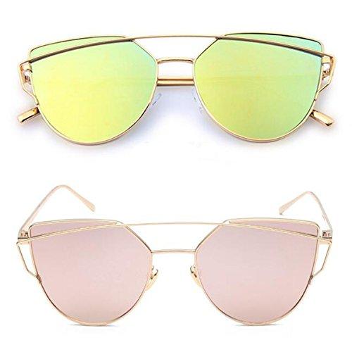 L&K-II Classische Sonnenbrille Damen Metall Rahmen verspiegelte Linse Brille 5101 set 13