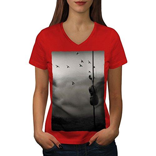 wellcoda Geige Natur Kunst Musik Frau 2XL V-Ausschnitt T-Shirt