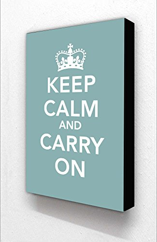 Keep Calm and Carry On Teel/hellgrün Block Halterung