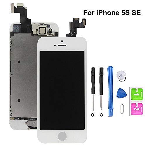 Hoonyer Für iPhone 5S/SE Display ersatzbildschirm LCD Touchscreen Display vorinstallierte frontkamera näherungssensor Reparatur kit komplette ersatzbildschirm mit Werkzeug (Weiß)