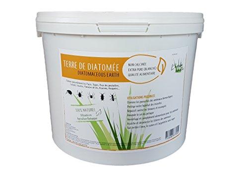 L'Herbe Haute ® Terre de diatomée alimentaire blanche -4KG- Utilisable en agriculture biologique - Haute pureté sans traitement ni adjonction - Élimine puces, punaises de lit, poux... Nombreux usages