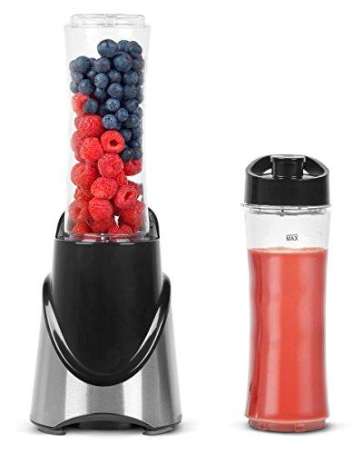 MEDION Smoothie-to-go-maker (300 Watt, Trinkverschluss mit Karabinerhaken, Edelstahlgehäuse, 2x Mixer-/Trinkgefäß, MD 16044) schwarz/metallic